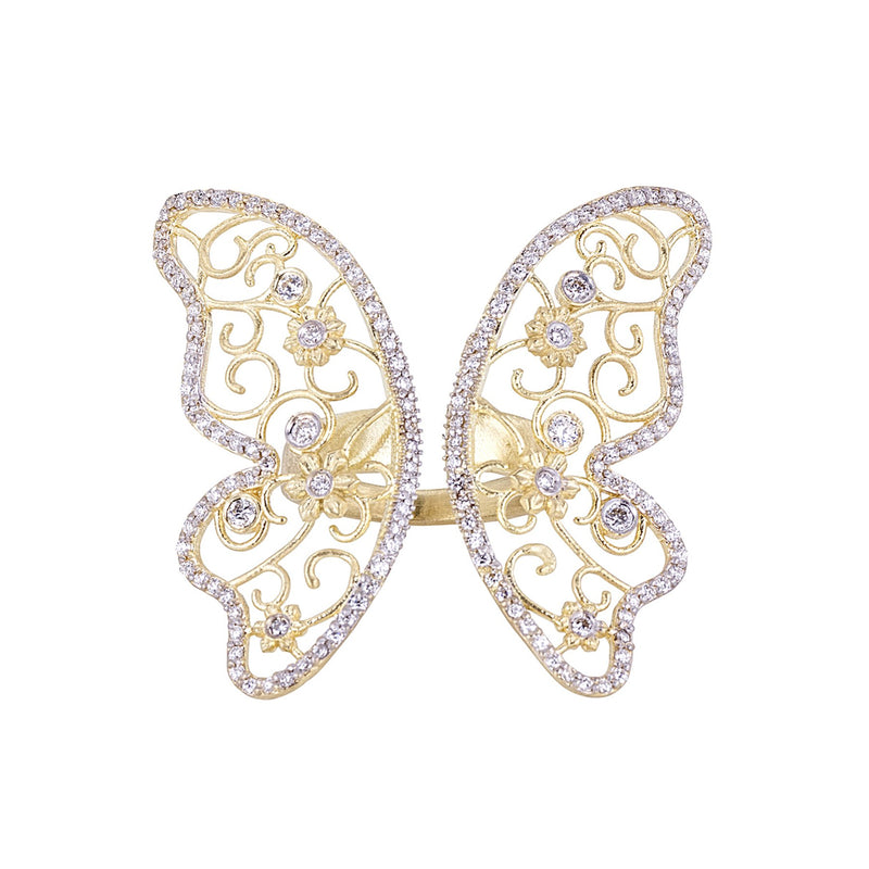 Diamond Tapestry Butterfly Cocktail Ring