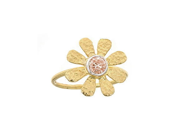 Champagne Diamond Sunflower Ring