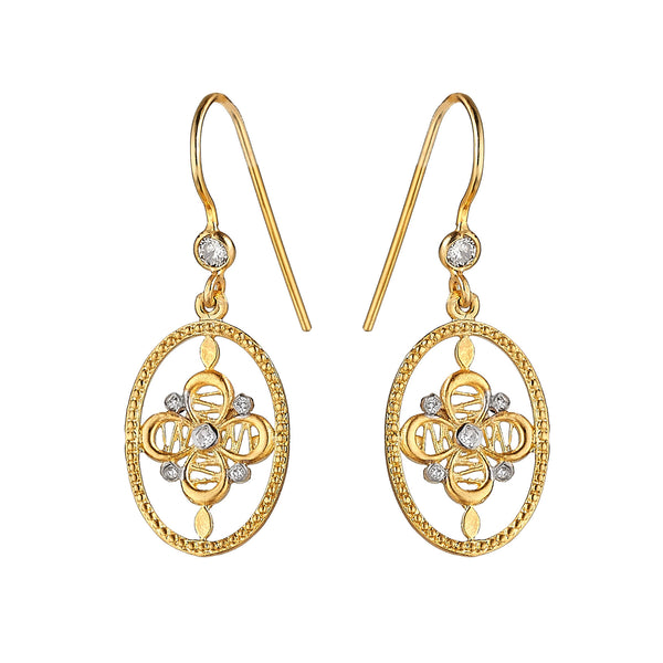 Tanya Farah Fine Jewelry | Diamond Passion Flower Oval Earrings