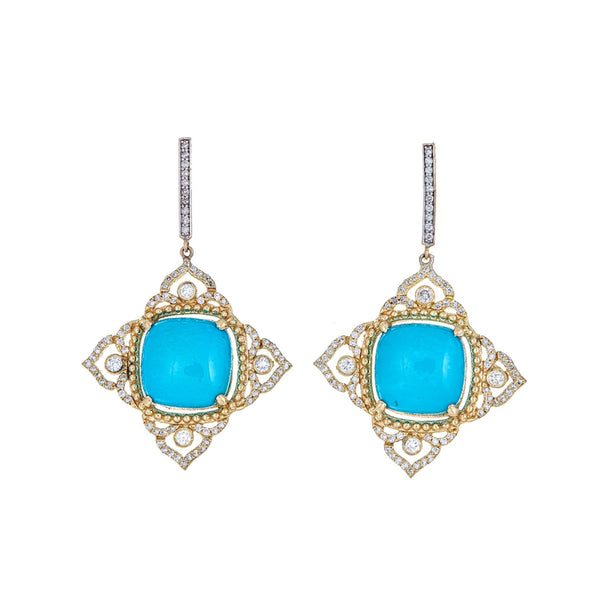Tanya Farah Fine Jewelry | Diamond Imperial Turquoise Earrings
