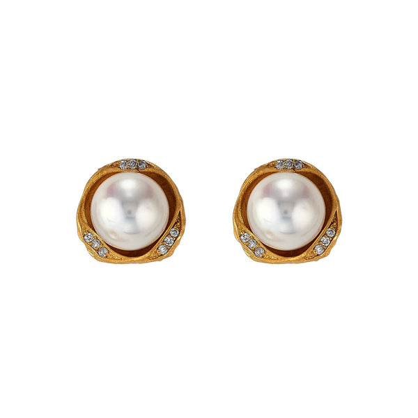 Tanya Farah Fine Jewelry | Diamond Pearl Nest Stud Earrings