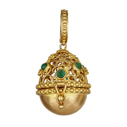 Tanya Farah Fine Jewelry | Emerald Tapestry Top Egg Necklace