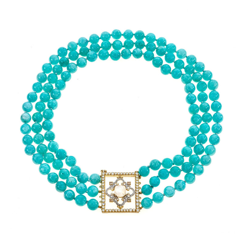Tanya Farah Fine Jewelry | Diamond Moonstone Cloud Amazonite Frame Necklace