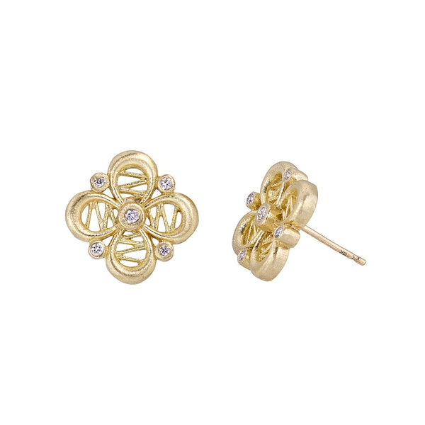 Tanya Farah Fine Jewelry | Diamond Passion Flower Stud Earrings