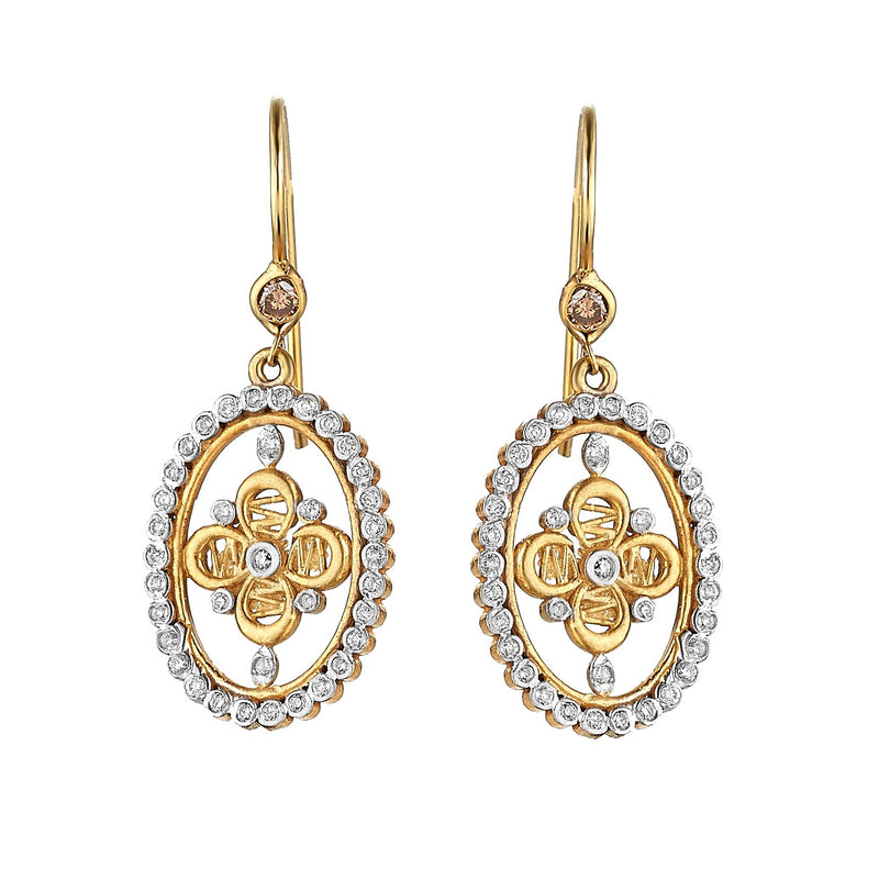 Tanya Farah Fine Jewelry | Diamond Passion Flower Oval Diamond Halo Earrings