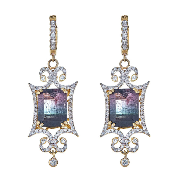Tanya Farah Fine Jewelry | Watermelon Tourmaline Diamond Scroll Earrings