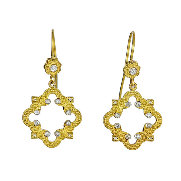 Tanya Farah Fine Jewelry | Diamond Accented Cloud Emerald Cross Earrings