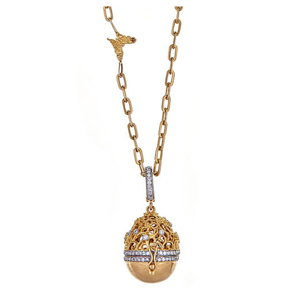 Tanya Farah Fine Jewelry | Diamond Tapestry Top Egg Necklace