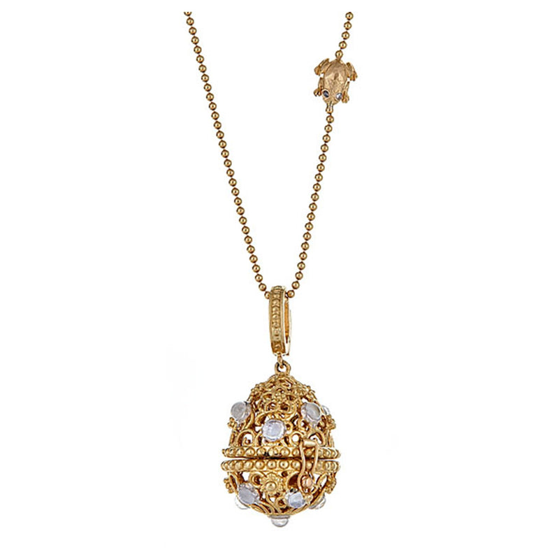 Tanya Farah Fine Jewelry | Moonstone Tapestry Top Egg Necklace