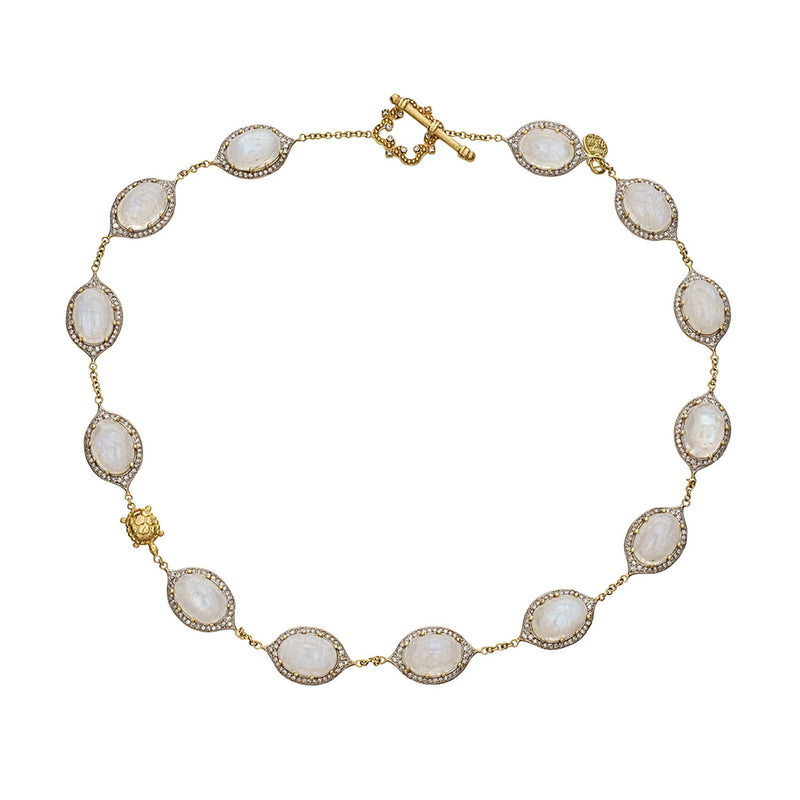 Tanya Farah Fine Jewelry | Diamond Moonstone Marie Antoinette Station Toggle Necklace