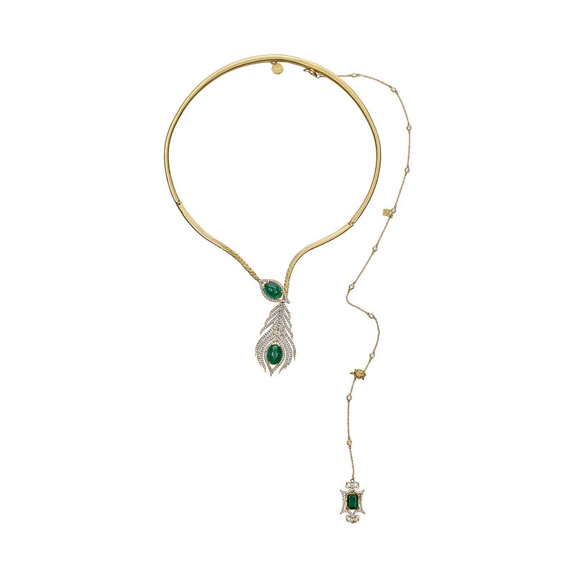Tanya Farah Fine Jewelry | Diamond Emerald Peacock Collar Necklace