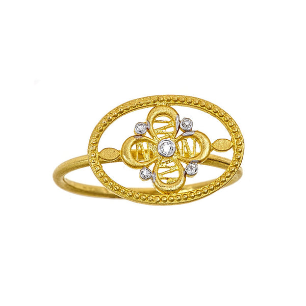 Tanya Farah Fine Jewelry | Diamond Passion Flower Oval Ring