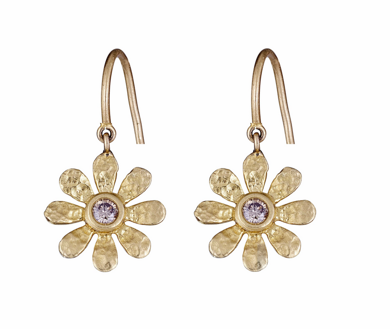 Champagne Diamond Sunflower Earrings