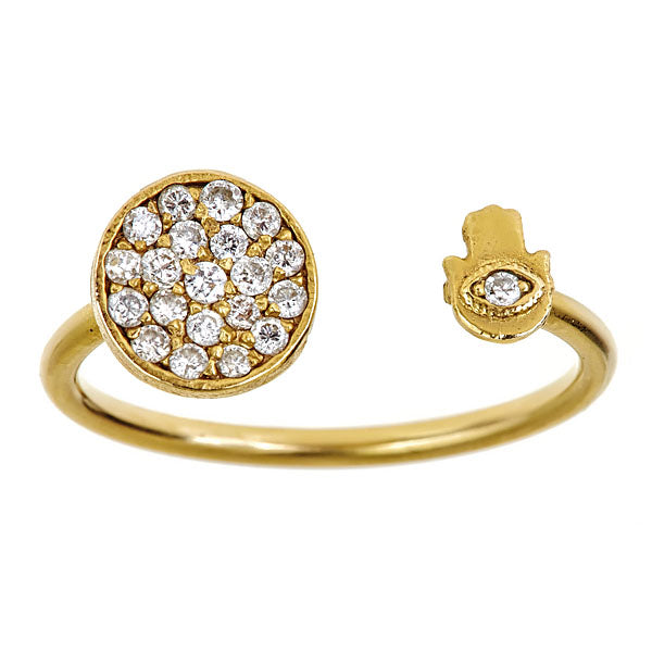 Diamond Hamsa Disc 'Protector' Ring