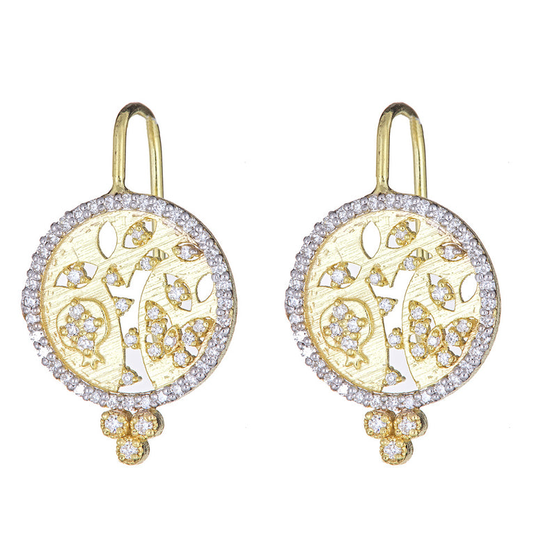 Diamond Tree of Life Cutout Disc Earrings