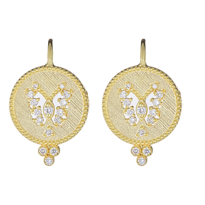 Diamond Butterfly Cutout Disc Earrings