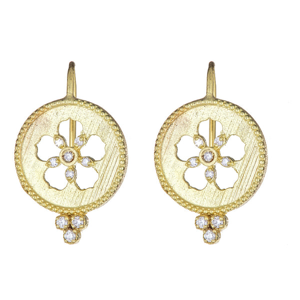 Diamond Flower Cutout Disc Earrings