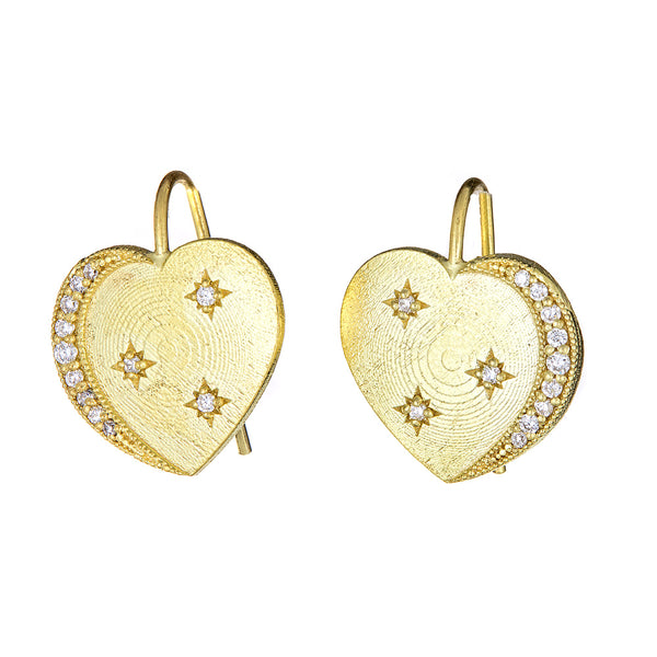 Diamond Heart & Crescent Moon Earrings