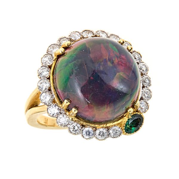Diamond & Black Opal Marie Antoinette Ring