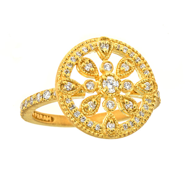 Diamond Round Medallion Ring with Halo