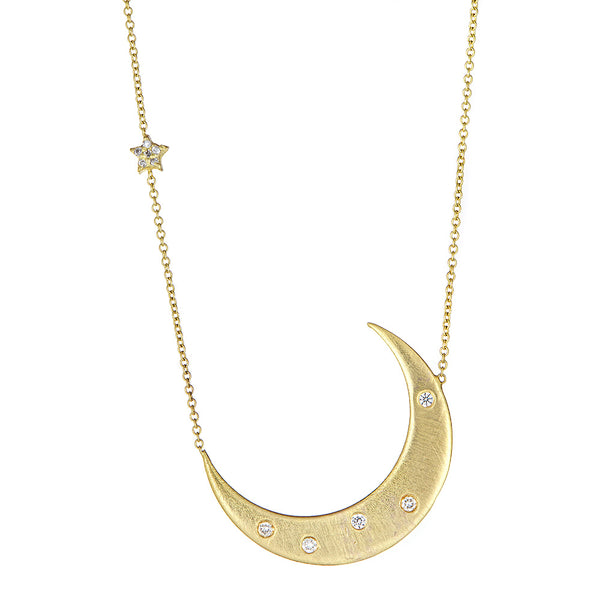 Crescent Moon & Diamond Star 'Faith' Pendant