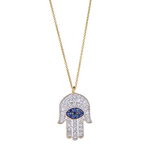 Diamond Hamsa Pendant with Sapphires