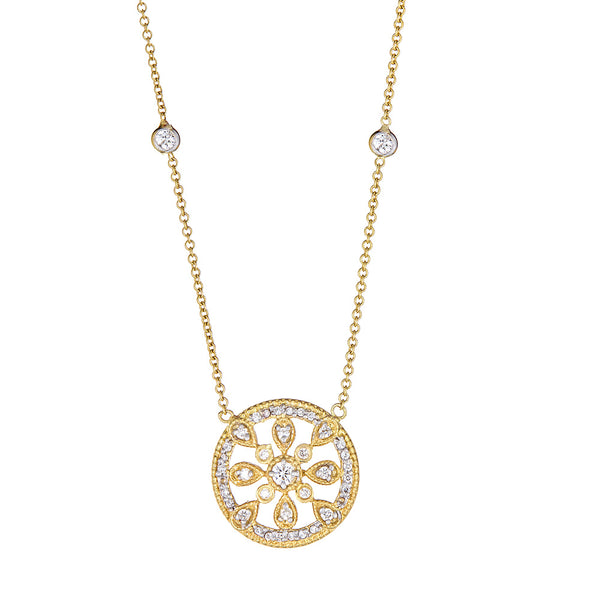 Diamond Round Medallion Pendant with Halo