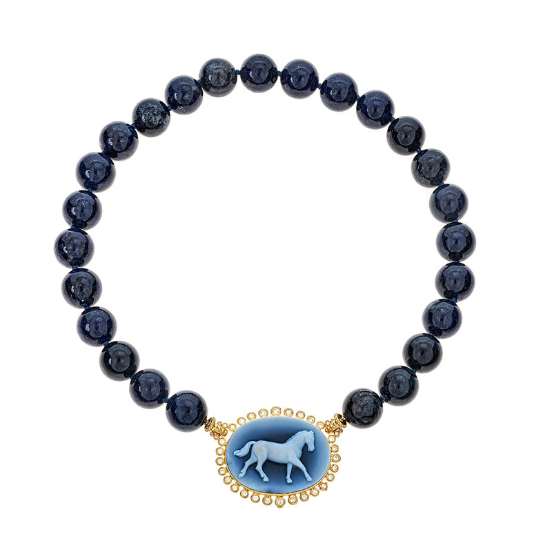 Horse Cameo Diamond & Kyanite Necklace