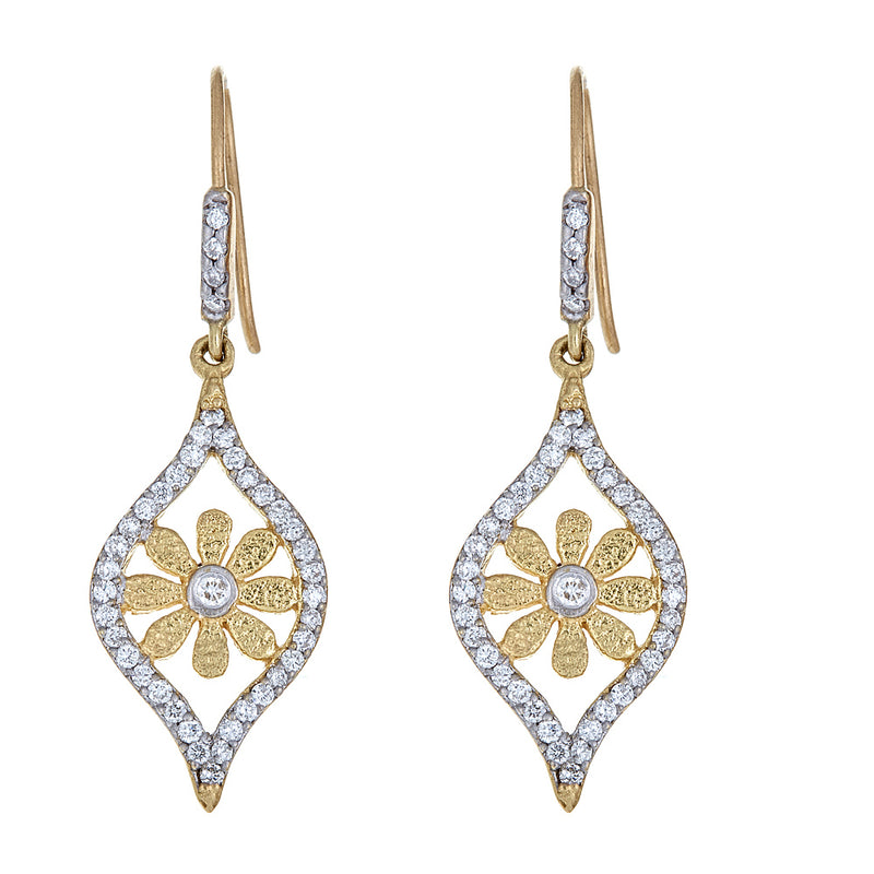 Diamond Marquise Sunflower Earrings