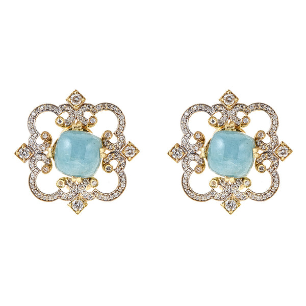 Diamond Aqua Cloud Earrings