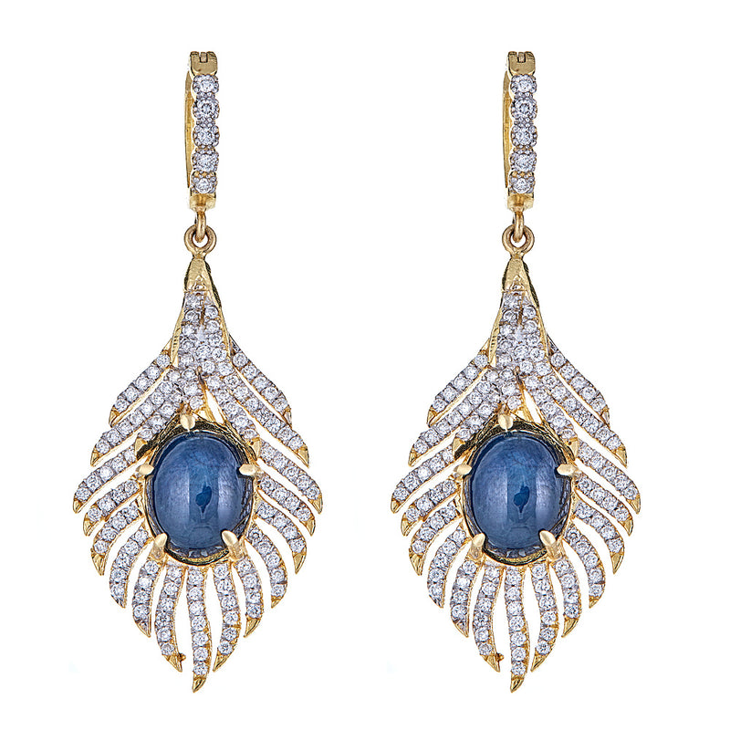 Star Sapphire & Diamond Peacock Earrings