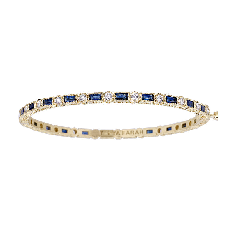 Blue Sapphire Baguette & White Diamond Bezel Eternity Bangle