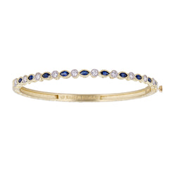 Blue Sapphire Marquise & White Diamond Bezel Bangle
