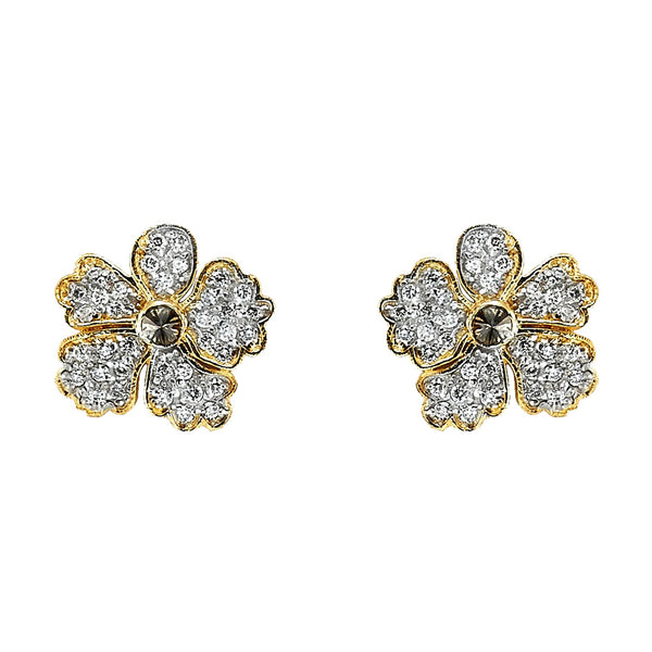 Tanya Farah Fine Jewelry | Diamond Hibiscus Flower Stud Earrings