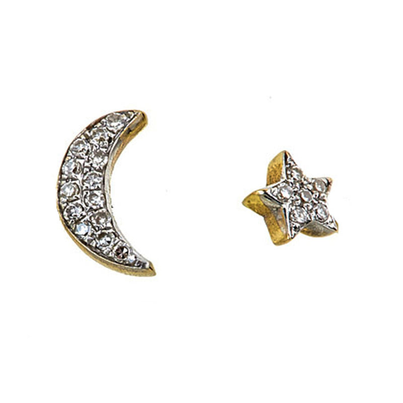 Tanya Farah Fine Jewelry | Diamond Moon and Star Stud Earrings