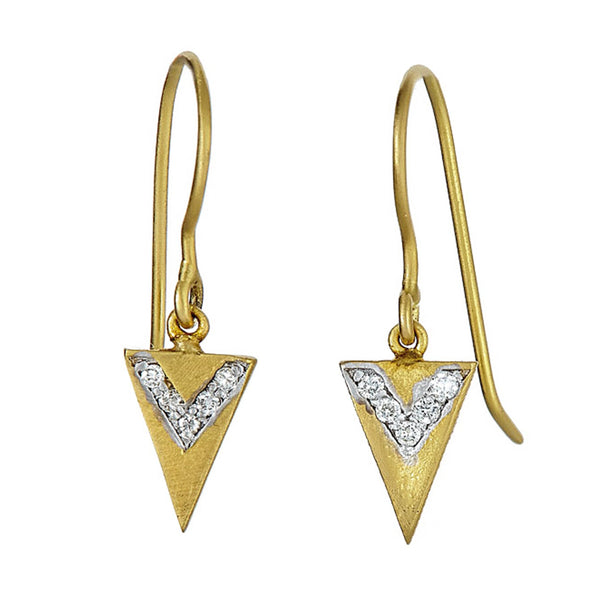 Tanya Farah Fine Jewelry | Diamond Compass Arrow Drop Earrings