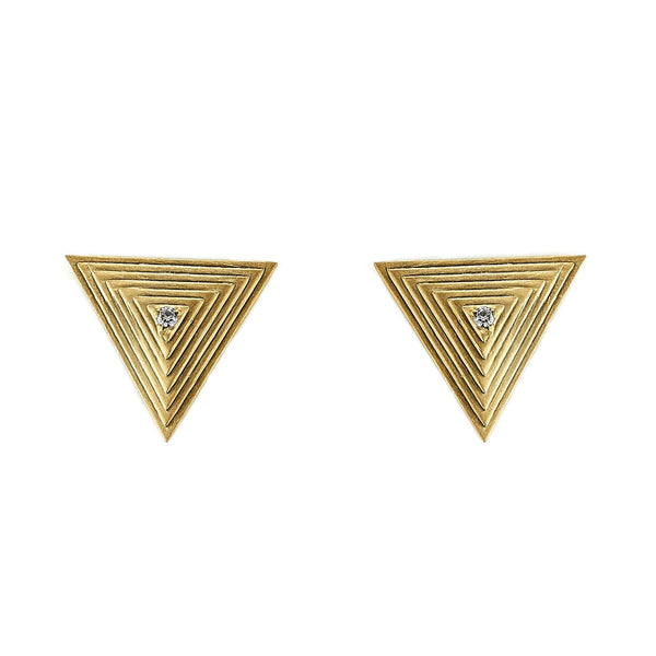 Tanya Farah Fine Jewelry | Diamond Textured Triangle Stud Earrings