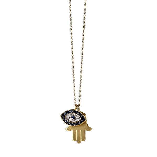 Tanya Farah Fine Jewelry | Diamond and Blue Sapphire Evil Eye Hamsa Pendant