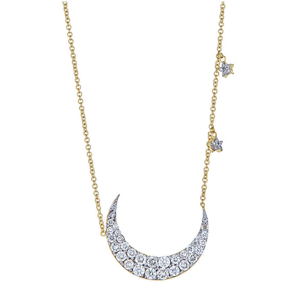 Tanya Farah Fine Jewelry | Diamond Cresent Moon and Stars Pendant