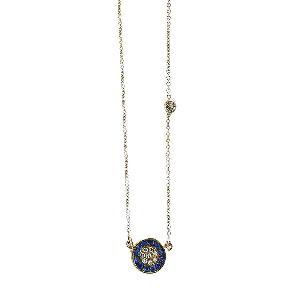 Tanya Farah Fine Jewelry | Diamond and Blue Sapphire Evil Eye Disc Pendant