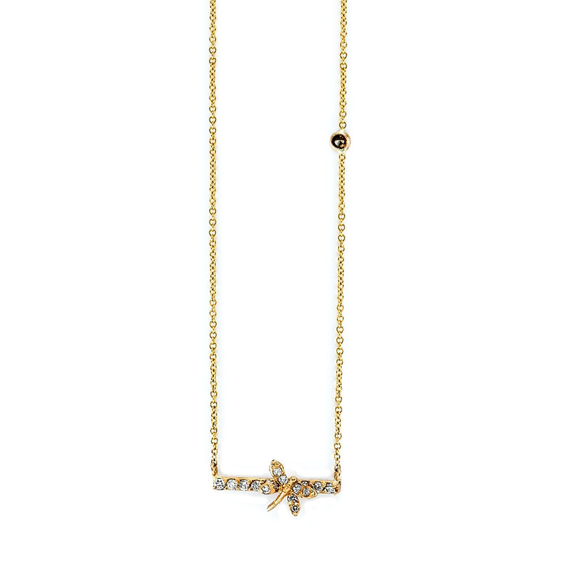 Tanya Farah Fine Jewelry | Diamond Dragonfly Bar Pendant