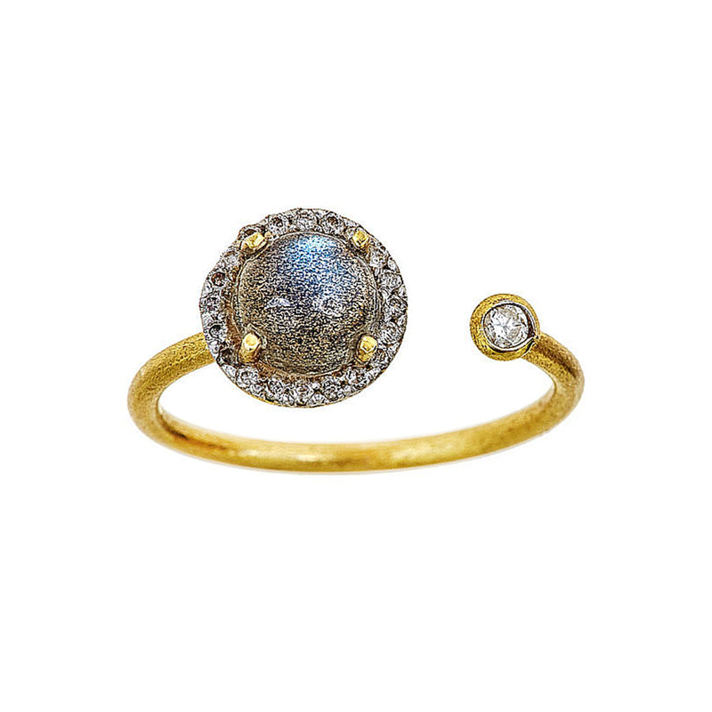 Tanya Farah Fine Jewelry | Labradorite Diamond Disc Ring