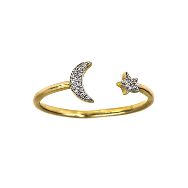 Tanya Farah Fine Jewelry | Diamond Moon and Star Ring