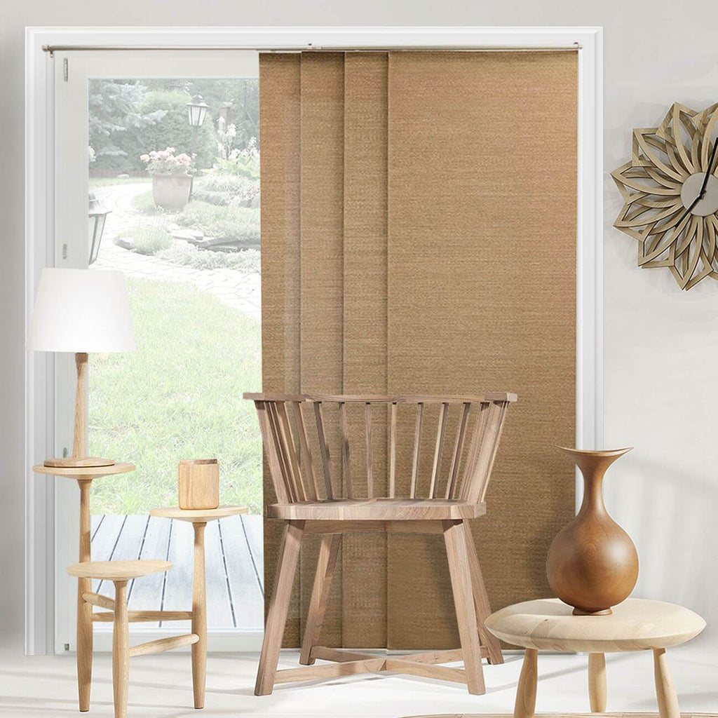 "Chicology Panel Track Blinds Birch Truffle / Up to 80""W X 96""H Adjustable Sliding Panels, Natural Woven DRSPBT8096"