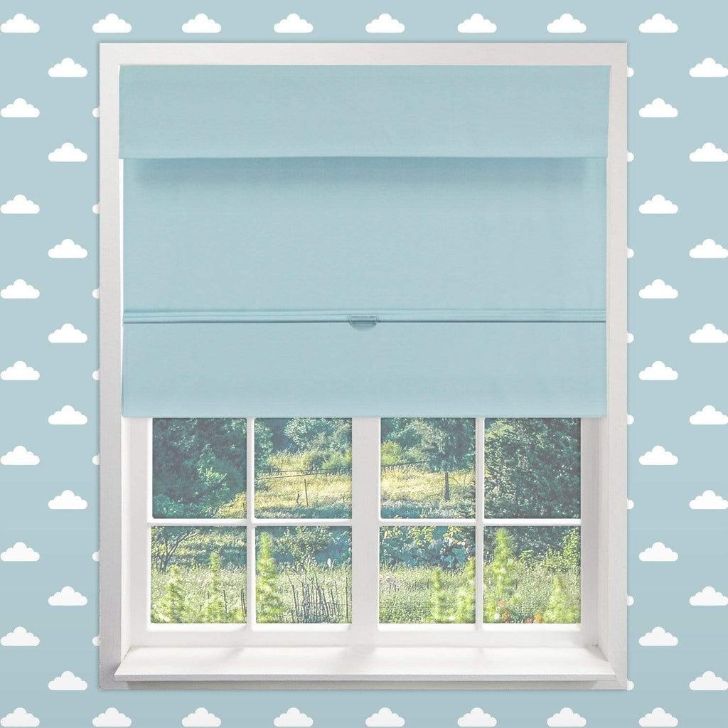 "Chicology Roman Shades Baby Blue / 23""W X 64""H Cordless Magnetic Roman Shades, Kids RMBB2364"