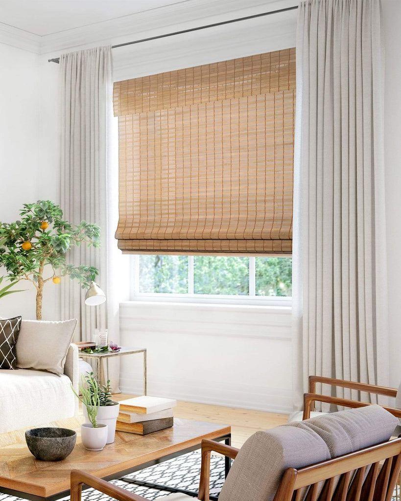 Cordless Bamboo Roman Shades Squirrel Acorn Beaver Natural Woven Privacy Chicology