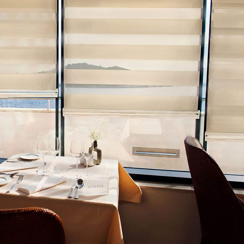 White 34 W X 72 H Sheer or Privacy Dual Layer Cordless Zebra Roller Blinds Sheer Shades//Free-Stop Combi Blinds
