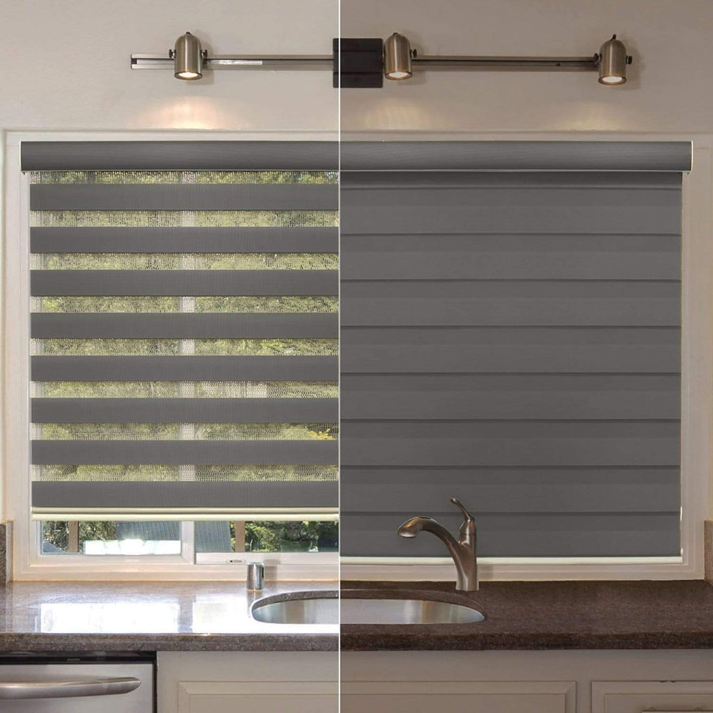 """Cordless Window Roller Shades Free-Stop Dual Layer Zebra Blinds 62/""""x72/"""""""