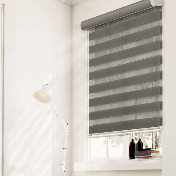 "Chicology Zebra / Dual Sheer Shades West Granite / 20""W X 72""H Cordless Zebra Roller Shades, West Granite ZSWG2072"