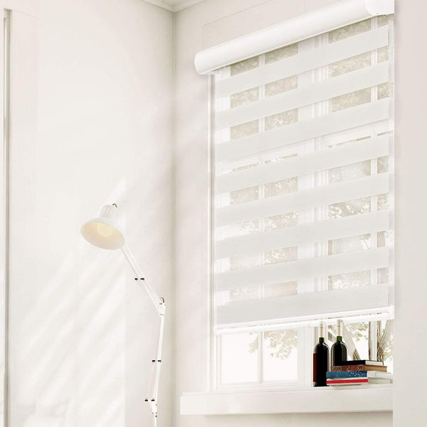 "Chicology Zebra / Dual Sheer Shades West Ivory / 20""W X 72""H Cordless Zebra Roller Shades, West Ivory ZSWI2072"